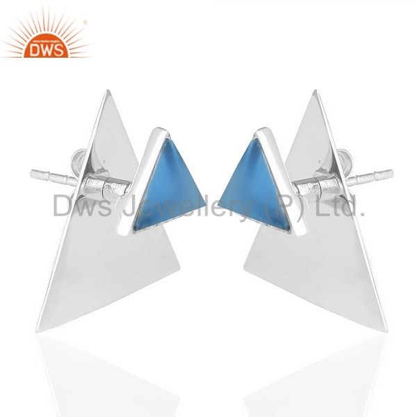 Exporter Blue Chalcedony Two Way Stud Triangle White Rhodium 92.5 Sterling Silver Earring