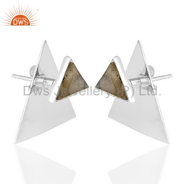 Exporter Labrodorite Two Way Stud Triangle White Rhodium 92.5 Sterling Silver Earring