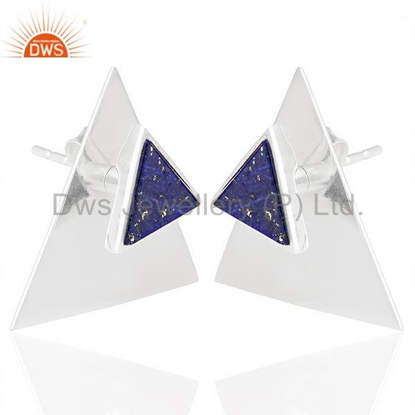 Exporter Lapis Two Way Stud Triangle 92.5 Sterling Silver Earring