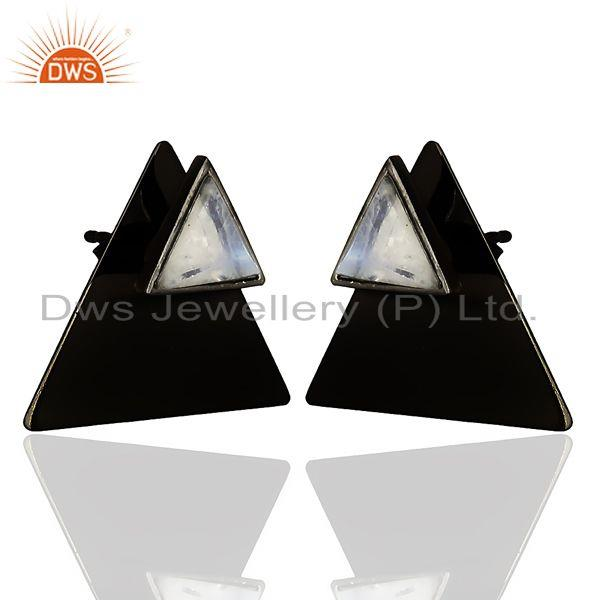 Exporter Black Oxidized 925 Sterling Silver Pyramid Design Rainbow Moonstone Stud Earring