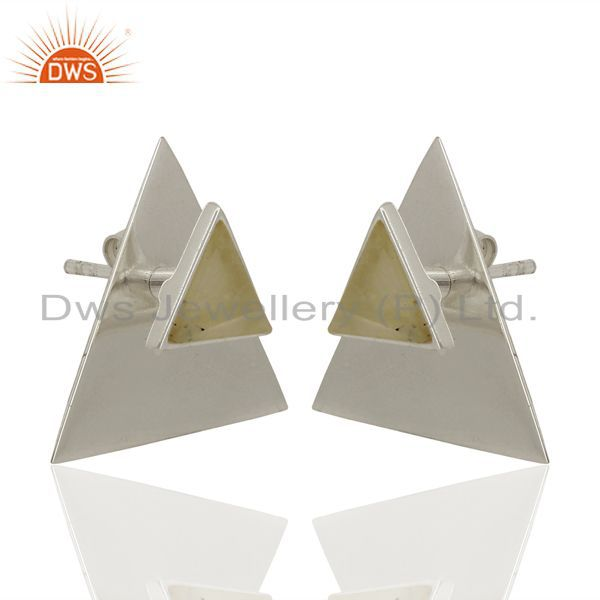 Exporter Rainbow Moon Stone Two Way Triangle 92.5 Sterling Silver Earrings Jewelry