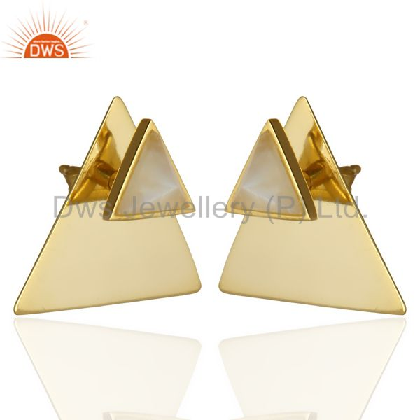 Exporter 14K Gold Plated 925 Sterling Silver Pyramid Design Rainbow Moonstone Earrings