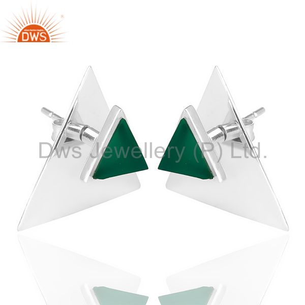 Exporter Green Onyx Two Way Stud Triangle White Rhodium 92.5 Sterling Silver Earring