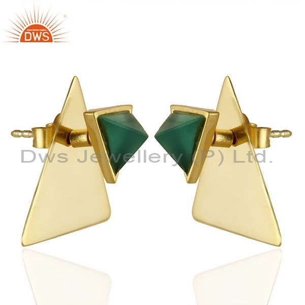 Exporter 14K Gold Plated 925 Sterling Silver Pyramid Design Green Onyx Studs Earrings