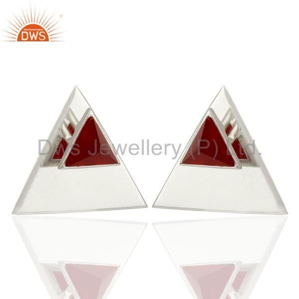 Exporter Red Onyx Two Way Stud Triangle 92.5 Sterling Silver Earrings Jewelry