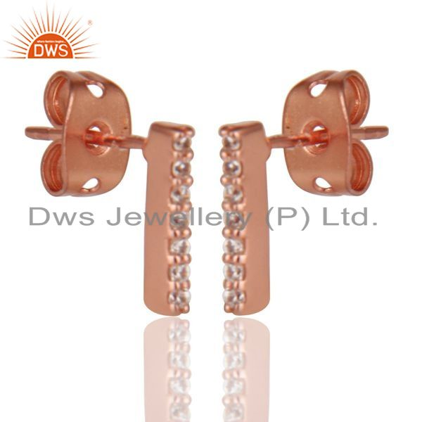 Exporter CZ Stud 14K Rose Gold Plated 925 Sterling Silver Earrings Exclusive Jewelry