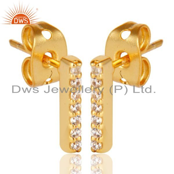 Exporter CZ Stud 14K Yellow Gold Plated 925 Sterling Silver Earrings Exclusive Jewelry