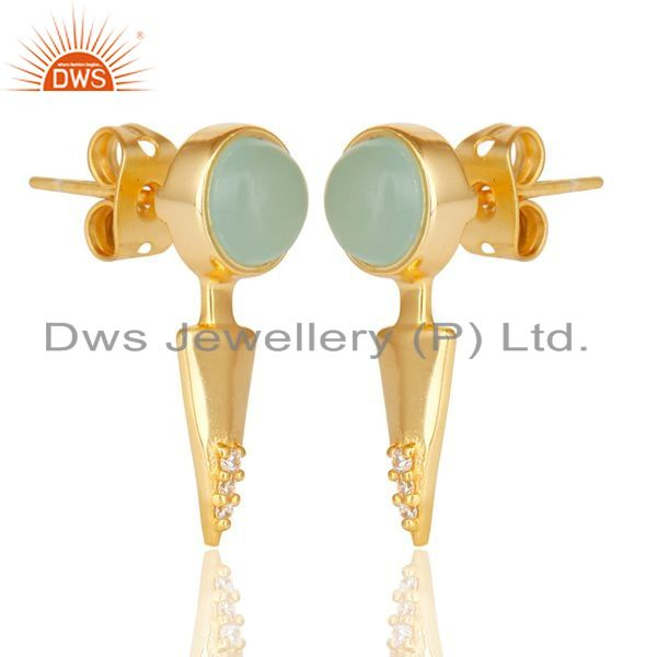 Exporter Aqua chalcedony studded Gold Plated Double Ear Jacket In 92.5 Sterling Silver