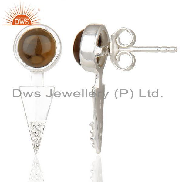 Exporter Smoky Topaz Studded Two Way Earring Double Jacket earing In Solid Silver