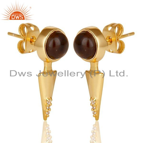Exporter Smoky Topaz Studded Gold Plated Double Ear Jacket In 92.5 Sterling Silver