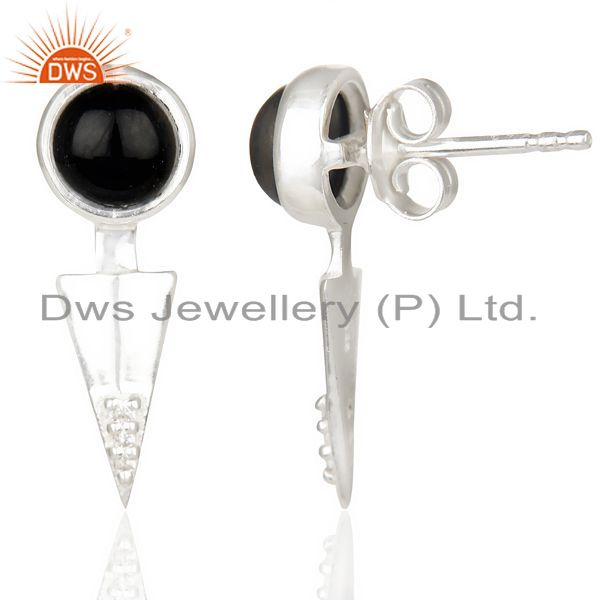 Exporter Black Onyx Studded Two Way Earring Double Jacket earing In Solid Silver