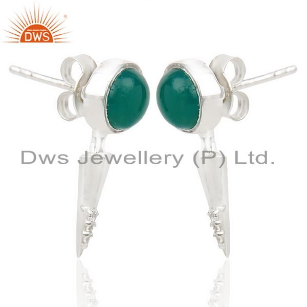 Exporter Green Onyx Studded Two Way Earring Double Jacket earing In Solid Silver