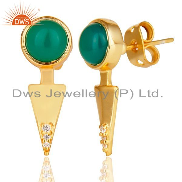 Exporter Green Onyx Studded Gold Plated Double Ear Jacket In 92.5 Sterling Silver
