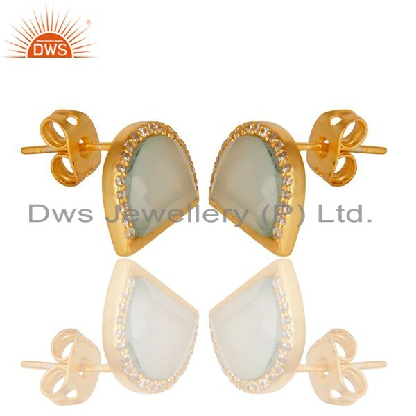 Exporter Aqua Chalcedony Half Moon Cz Stud Gold Plated 92.5 Sterling Silver Earring