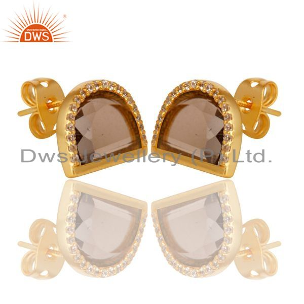 Exporter Smoky Topaz Half Moon Cz Stud Gold Plated 92.5 Sterling Silver Earring