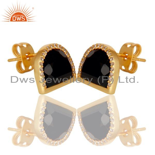 Exporter Black Onyx Half Moon Cz Stud Gold Plated 92.5 Sterling Silver Earring