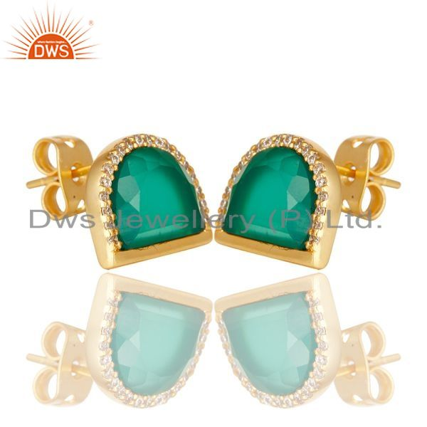 Exporter Green Onyx Half Moon Cz Stud Gold Plated 92.5 Sterling Silver Earring