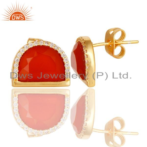 Exporter Red Onyx Half Moon Cz Stud Gold Plated 92.5 Sterling Silver Earring