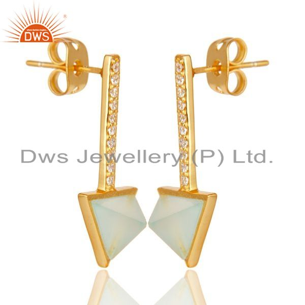Exporter Aqua Chalcedony Triangle Post 14K Gold Plated 92.5 Sterling Silver Earring