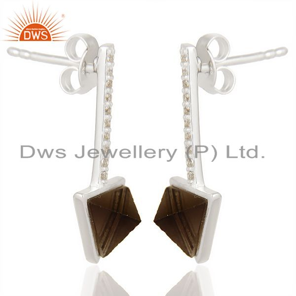 Exporter Smoky Topaz Triangle Cut Post 92.5 Sterling Silver Earring,Stud Long Earring