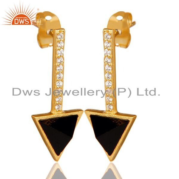Exporter Black Onyx Triangle Post 14K Gold Plated 92.5 Sterling Silver Earring