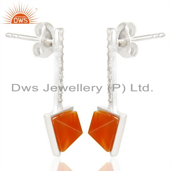 Exporter Red Onyx Triangle Cut Post 92.5 Sterling Silver Earring,Stud Long Earring