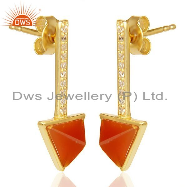 Exporter Red Onyx Triangle Post 14K Gold Plated 92.5 Sterling Silver Earring