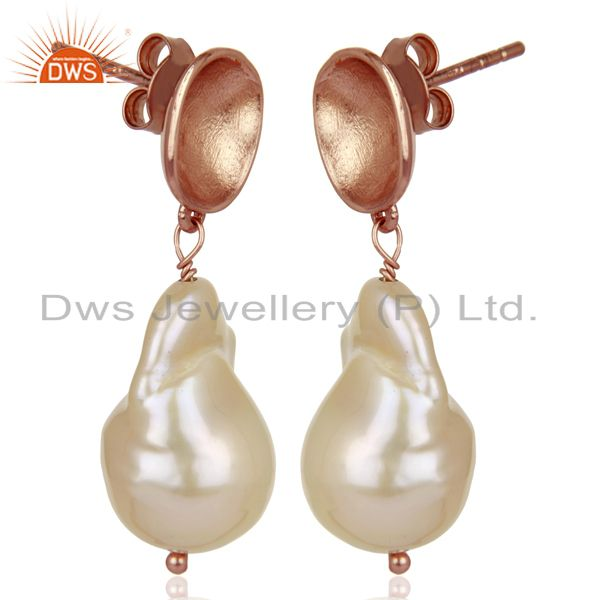 Exporter Baroque Fresh Water Pearl Long Dangle Rose Gold 92.5 Silver Earring