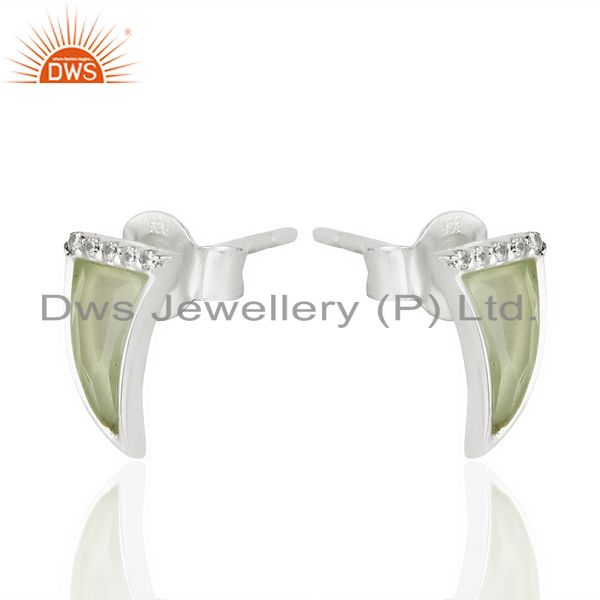 Exporter Aqua Chalcedony Tiny Horn Cz Studded Post 92.5 Sterling Silver Earring