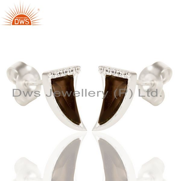 Exporter Smoky Topaz Tiny Horn Cz Studded Post 92.5 Sterling Silver Small Earring
