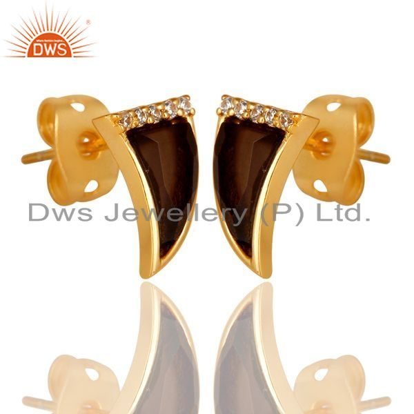 Exporter Smoky Topaz Tiny Horn Cz Studded Post Gold Plated Sterling Silver Earring