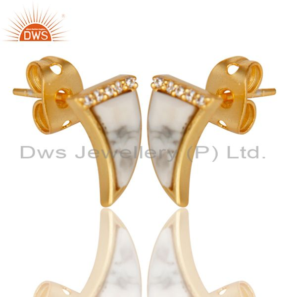 Exporter Howlite Tiny Horn Cz Studded Post Gold Plated Sterling Silver Earring