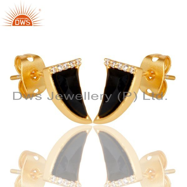Exporter Black Onyx Tiny Horn Cz Studded Post Gold Plated Sterling Silver Earring