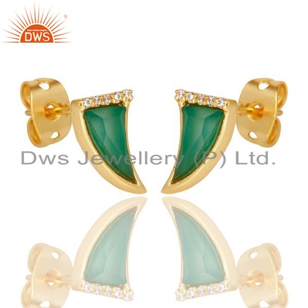 Exporter Green Onyx Tiny Horn Cz Studded Post Gold Plated Sterling Silver Earring