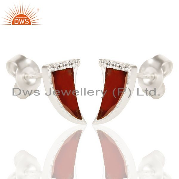 Exporter Red Onyx Tiny Horn Cz Studded Post 92.5 Sterling Silver Small Earring