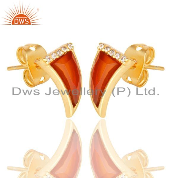 Exporter Red Onyx Tiny Horn Cz Studded Post Gold Plated Sterling Silver Earring