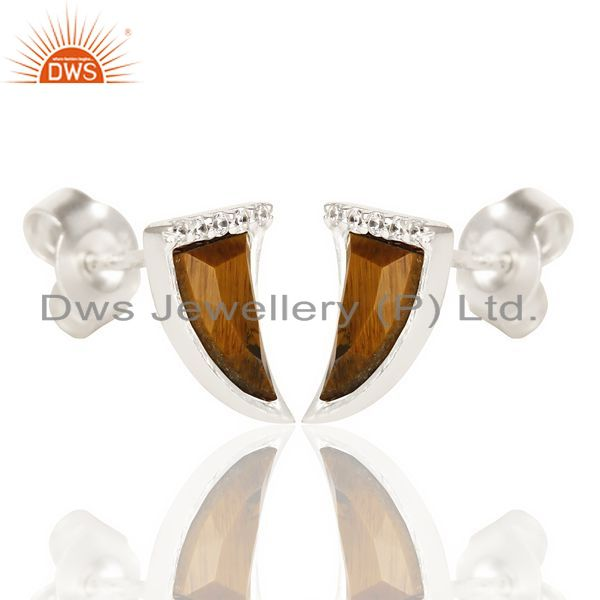 Exporter Tigereye Tiny Horn Cz Studded Post 92.5 Sterling Silver Small Earring