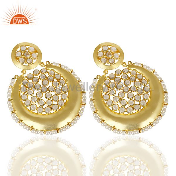 Exporter Silver Gold Plated Natural Pearl Gemstone Chand Bali Earrings Supplier