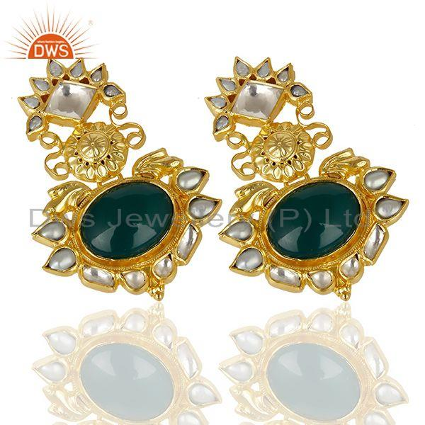 Exporter Green Onyx Pearl Gemstone Gold Plated Silver Earrings Supplier