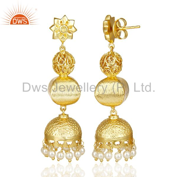 Exporter Handcrafted Indian Filigreen Traditional Bollywood Gold Jhumka Silver Earring