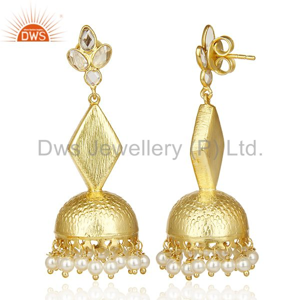 Exporter Gold Plated Silver Pearl Gemstone Traditional Earrings Manufacturer
