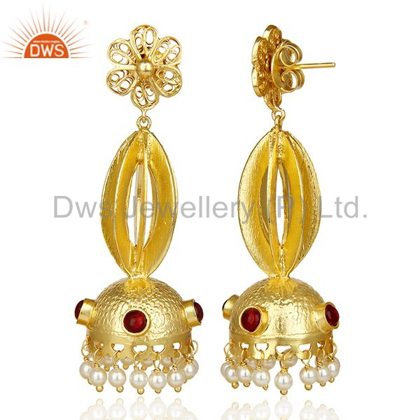 Exporter Peal Embalished Handcrafted Traditional Jhumka Dangle Long Silver Earring