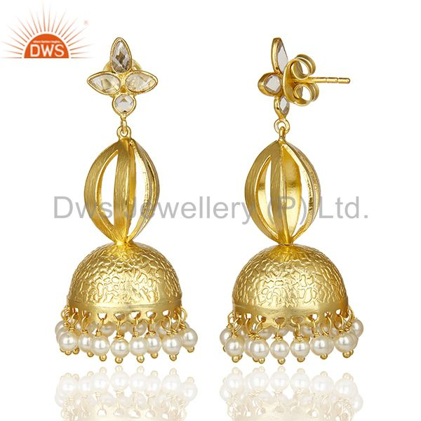 Exporter Simple Gold Plated Indian Jhumka Traditional Long Silver Pearl Earring