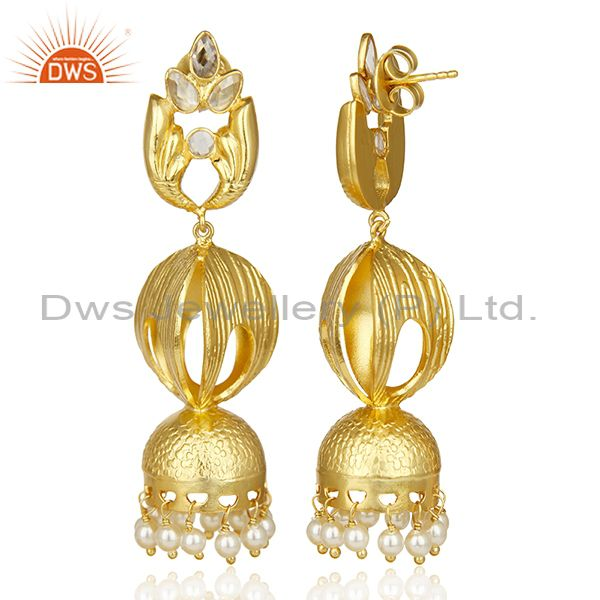 Exporter Antique Temple Gold Plated Jhumka Made Of Dull Matte Finish Gold Silver Earring