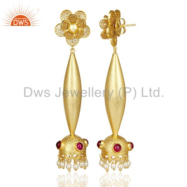 Exporter Filigreen Gold And Pearl Bollywood Red Stone Jhumka Gold Plated Silver Earring