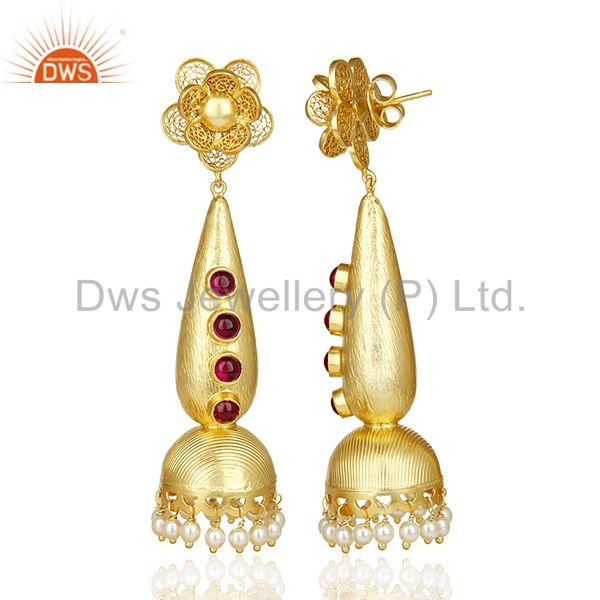 Exporter Handcrafted Traditional Gold Plated Jhumka Bridal Indian Silver Earring