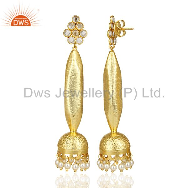 Exporter Gold Plated Pearl Oversized Long Bollywood Jhumka Silver Earring