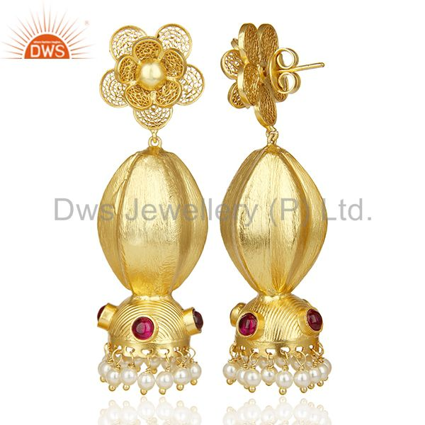 Exporter Classy Indian Jhumka Gold Plated Traditional Bollywood  Wholesale Earring