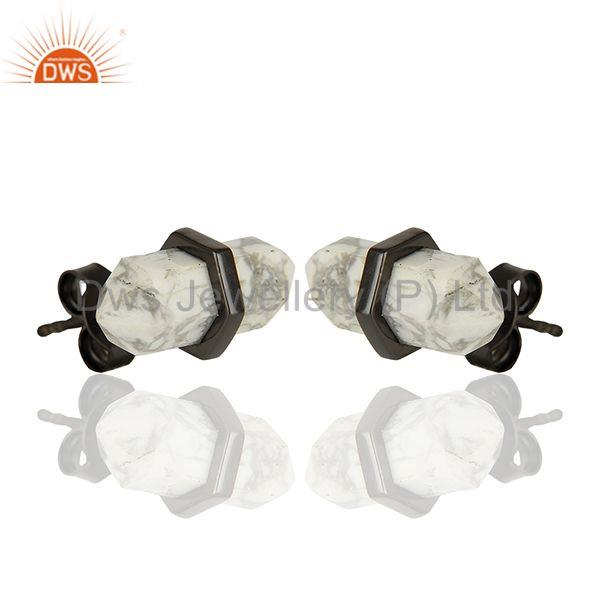 Exporter Pencil Design White Howlite Gemstone 925 Silver Stud Earrings Supplier