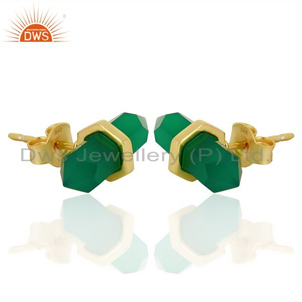 Exporter Green Onyx Terminated Pencil Post Gold Plated Sterling Silver Earring